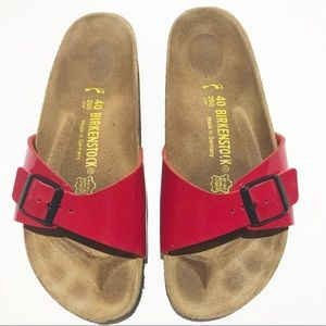 Birkenstock Madrid Red Patent Slides